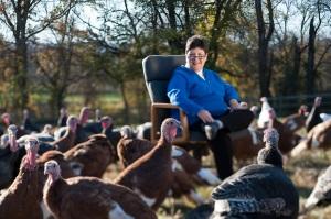 Adele with Turkeys